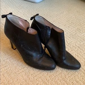 Black leather stiletto ankle booties